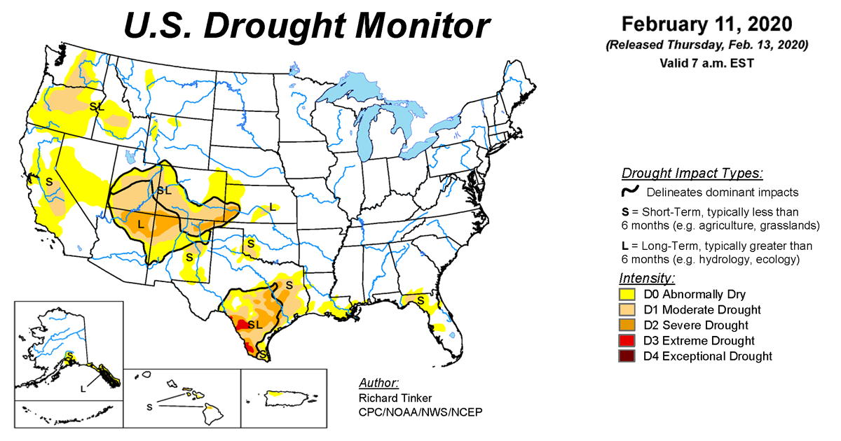 Map of U.S. drought conditions for February 11, 2020