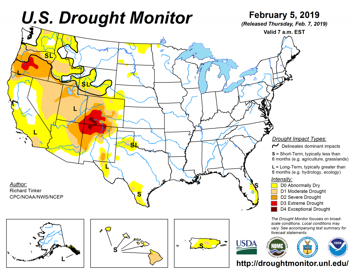Map of U.S. drought conditions for February 7, 2019