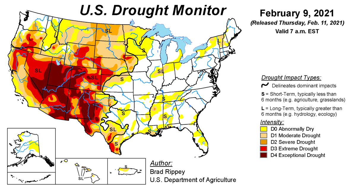 Map of U.S. drought conditions for February 9, 2021
