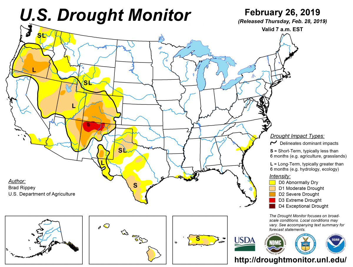 U.S. Drought Monitor Update for February 26, 2019 | National Centers on