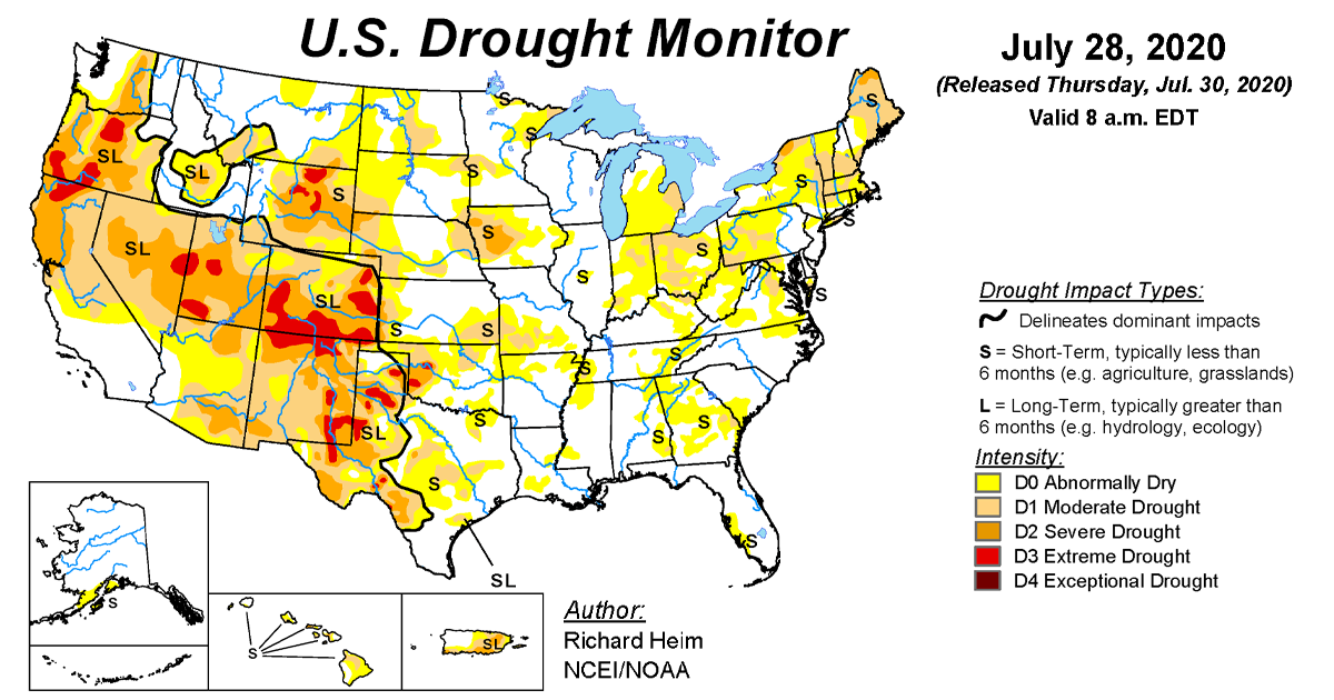 Map of U.S. drought conditions for July 28, 2020