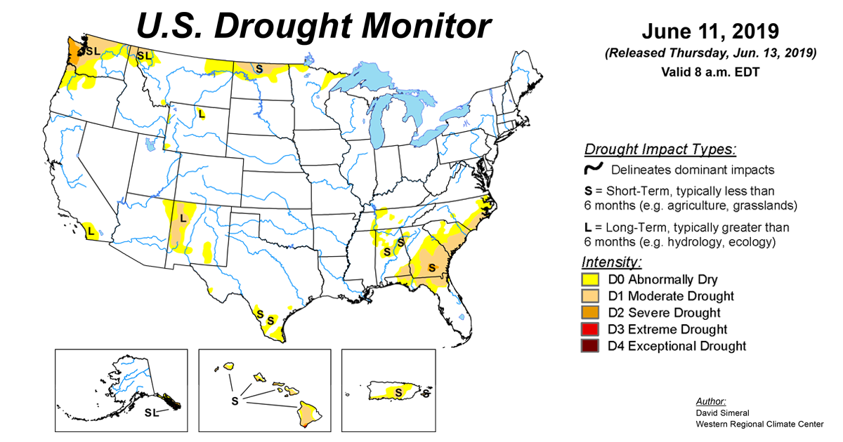 U S  Drought Monitor Update for June 11, 2019 | National