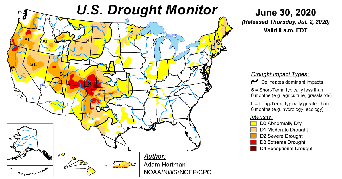Map of U.S. drought conditions for June 30, 2020