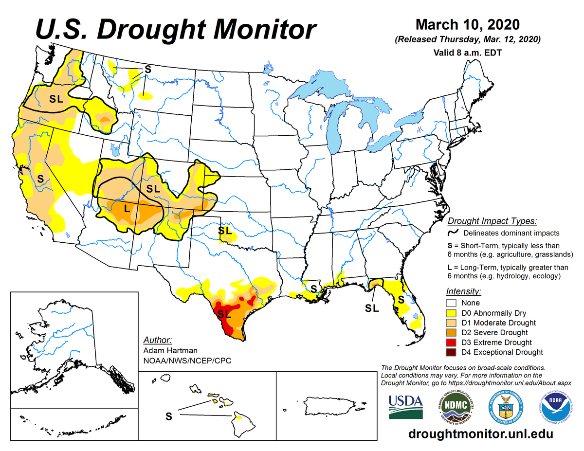 Map of U.S. drought conditions for March 10, 2020