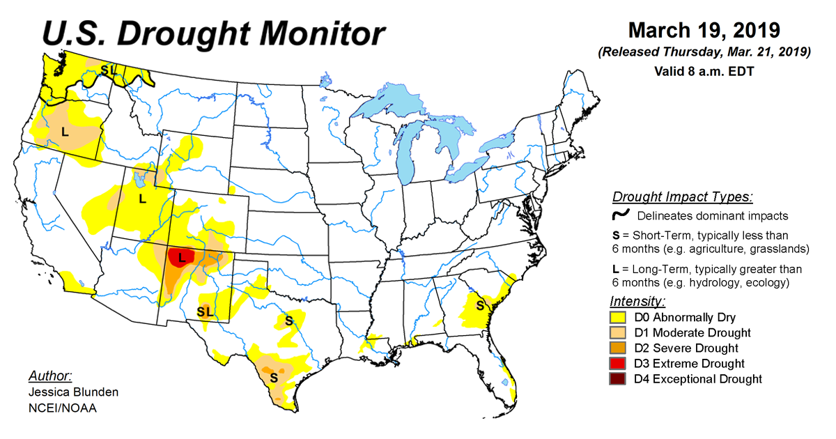 U S  Drought Monitor Update for March 19, 2019 | National Centers