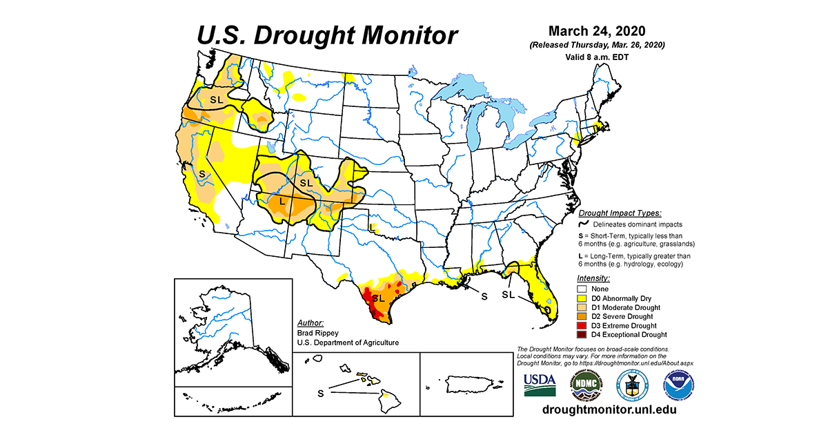 Map of U.S. drought conditions for March 24, 2020