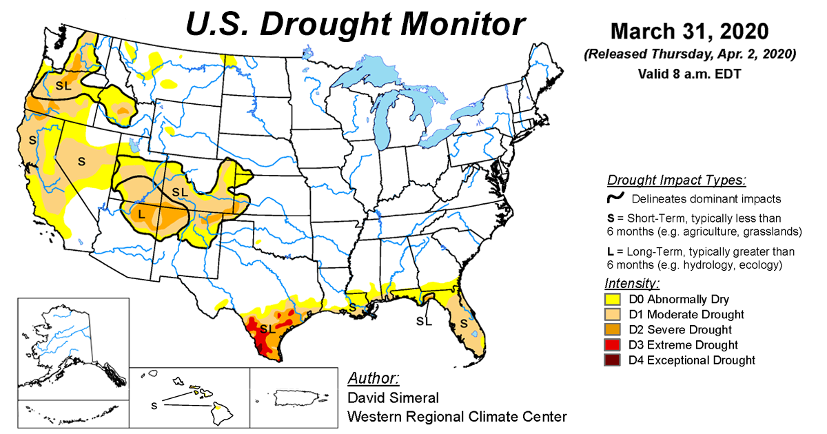 Map of U.S. drought conditions for March 31, 2020