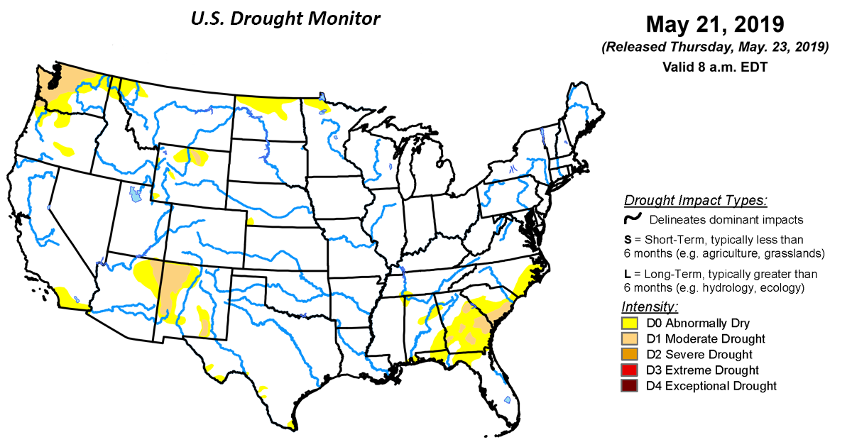 U S  Drought Monitor Update for May 21, 2019 | National Centers for