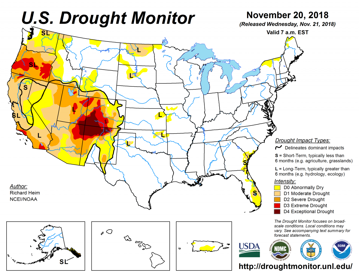 Map of U.S. drought conditions for November 20, 2018