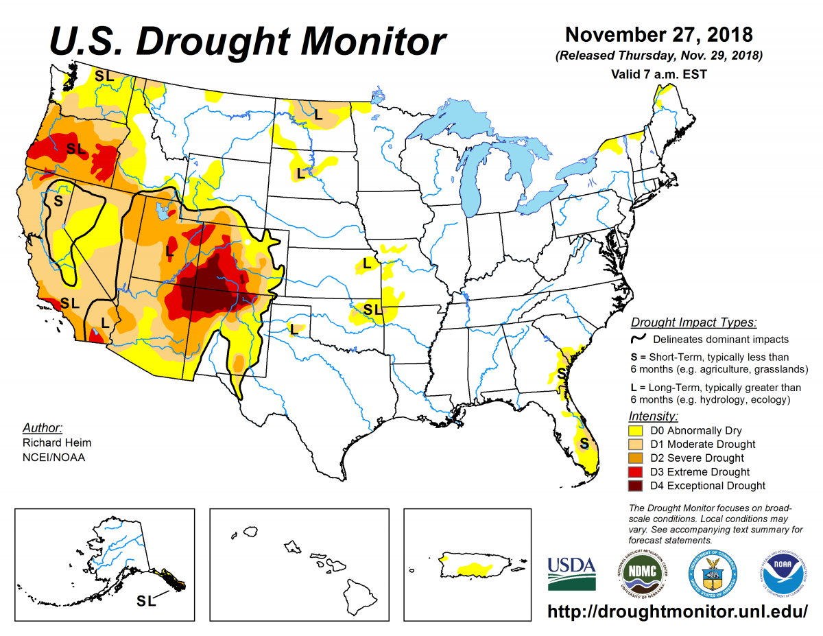 Map of U.S. drought conditions for November 27, 2018