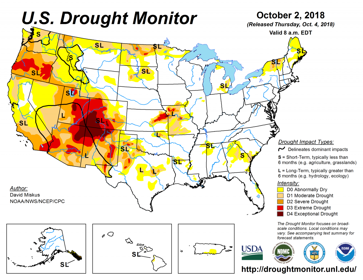 Map of U.S. drought conditions for October 2, 2018
