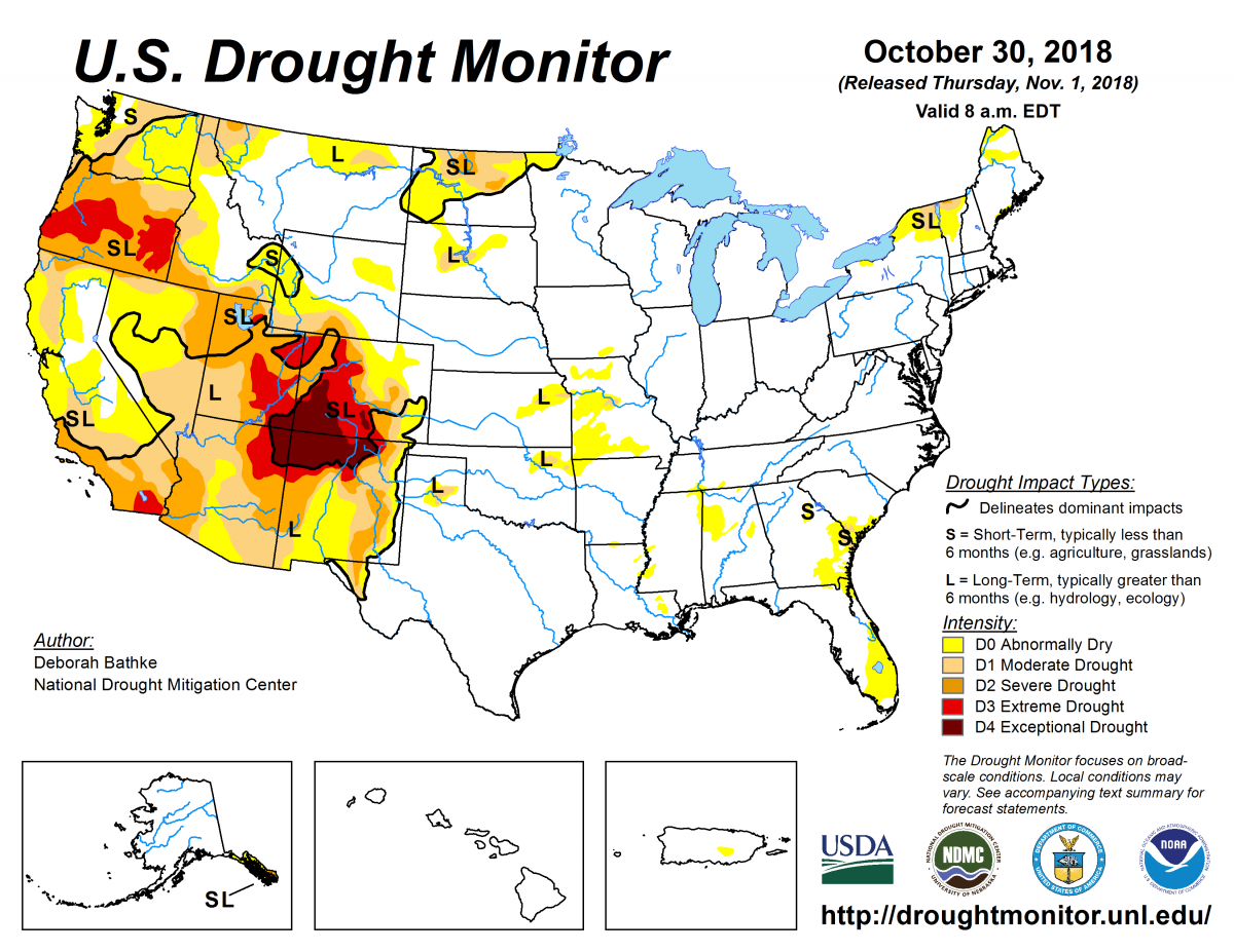Map of U.S. drought conditions for October 30, 2018