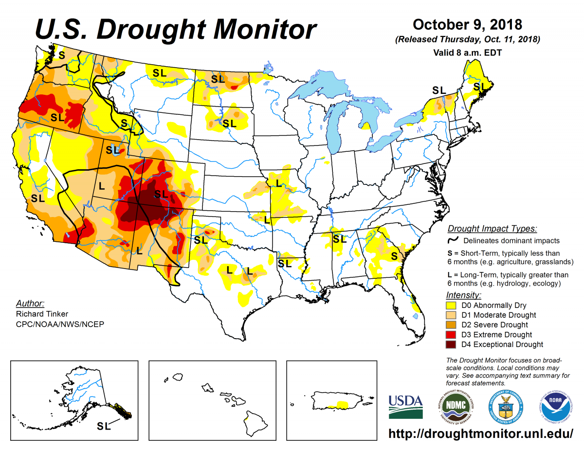 Map of U.S. drought conditions for October 9, 2018