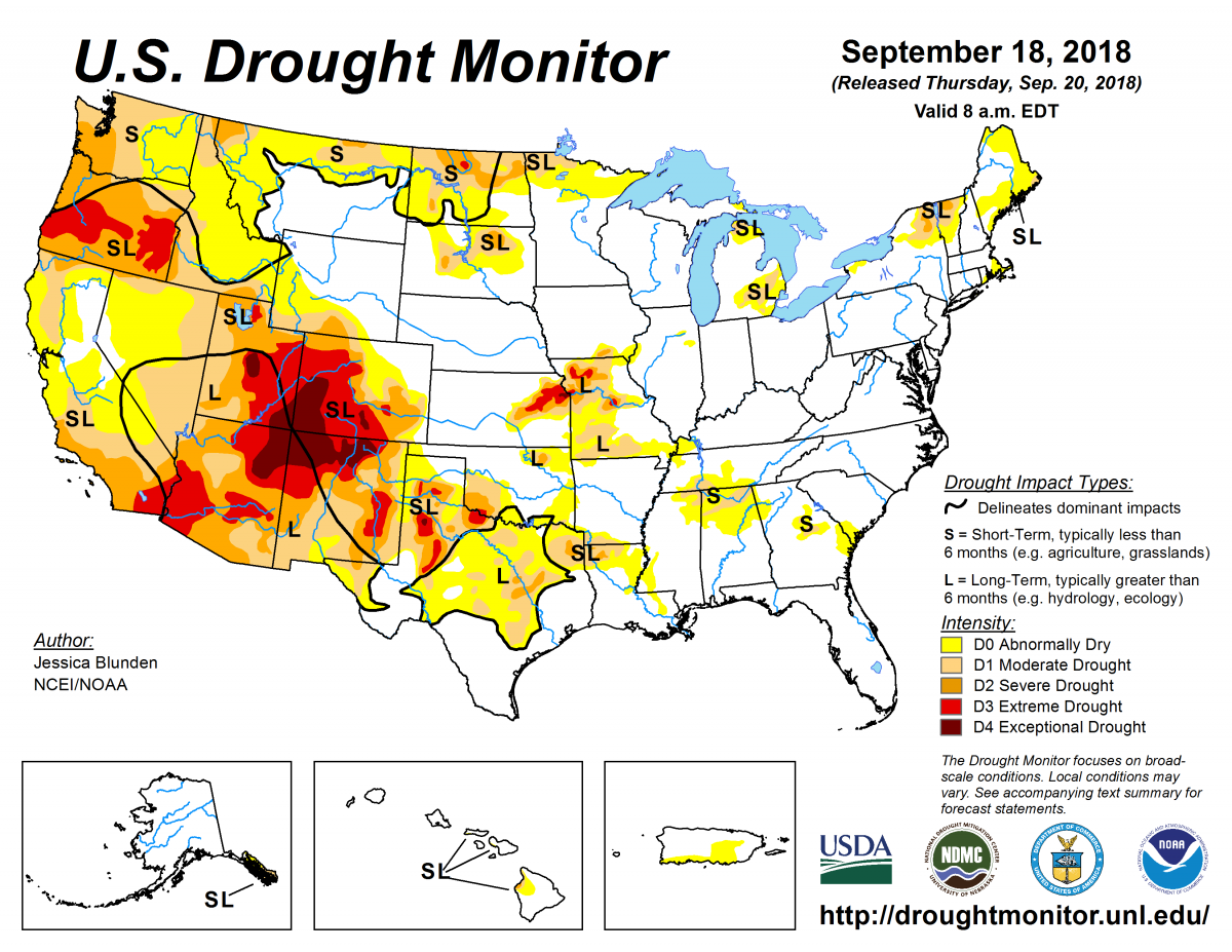 Map of U.S. drought conditions for September 18, 2018
