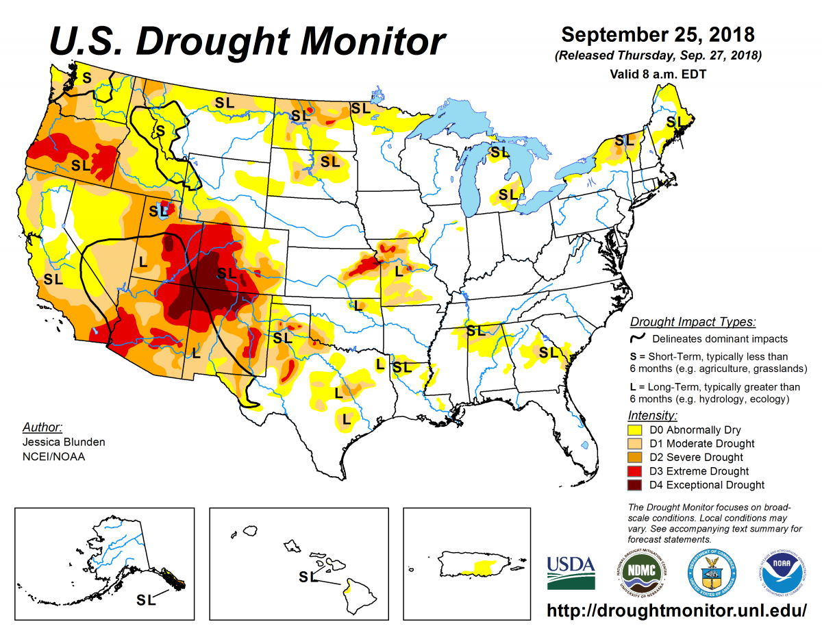 Map of U.S. drought conditions for September 25, 2018