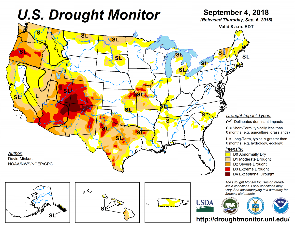 Map of U.S. drought conditions for September 4, 2018
