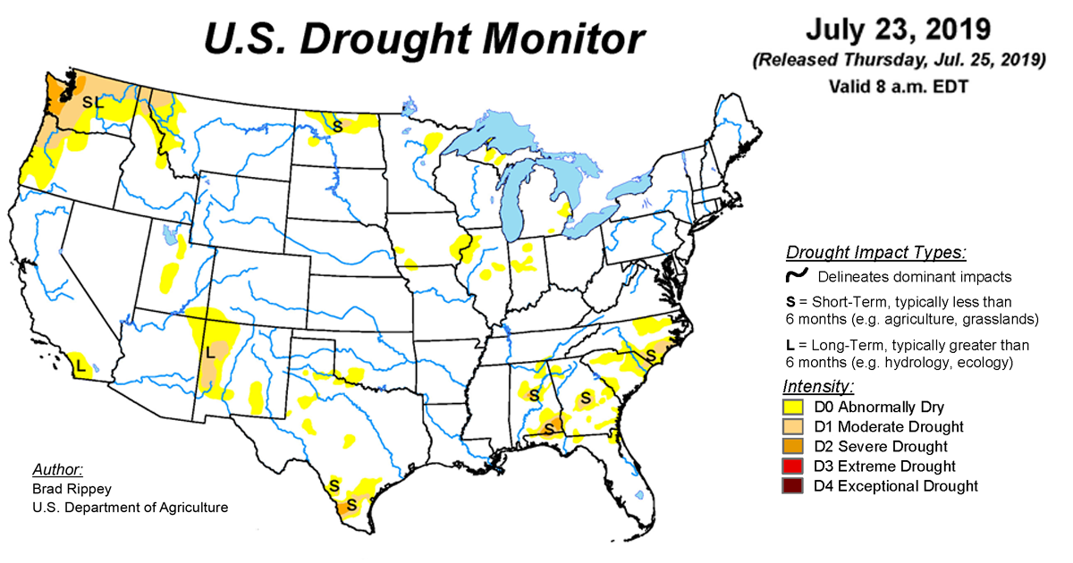Map of U.S. Drought Conditions for July 23, 2019