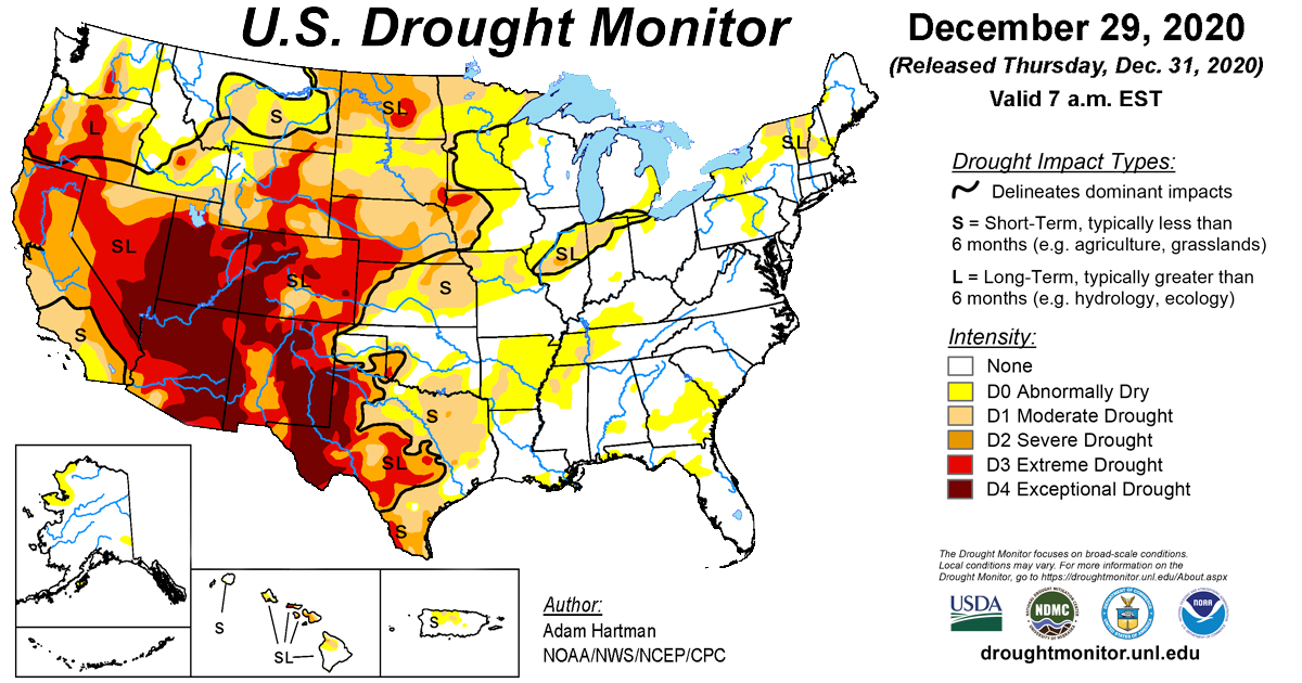 Map of U.S. drought conditions for December 29, 2020