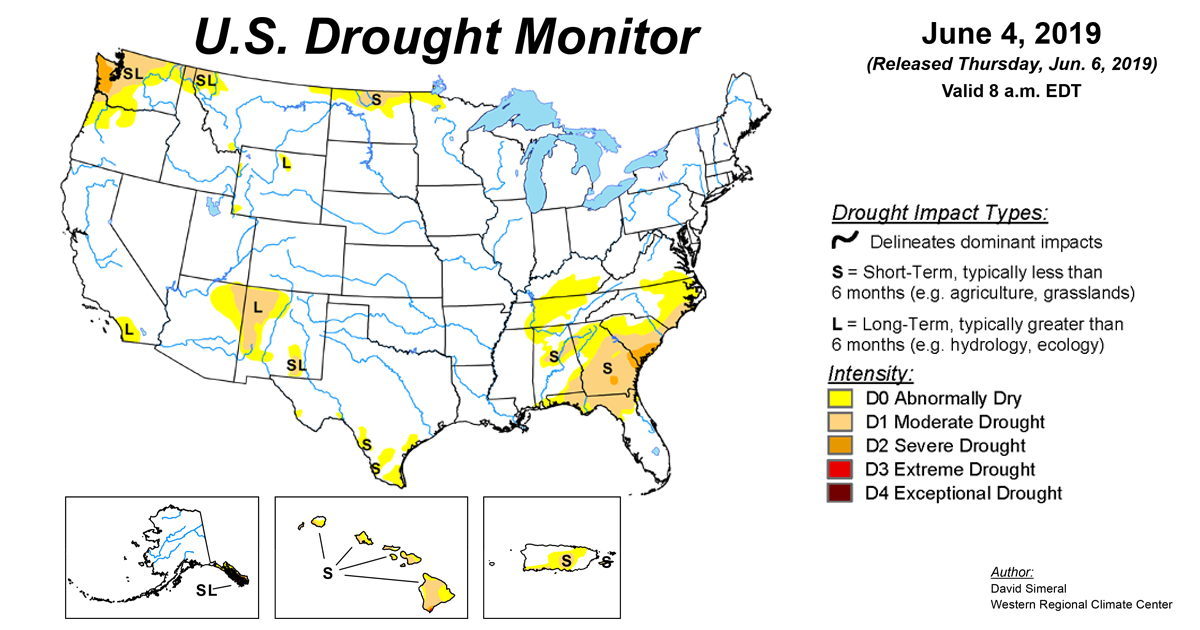 U S  Drought Monitor Update for June 4, 2019 | National Centers for