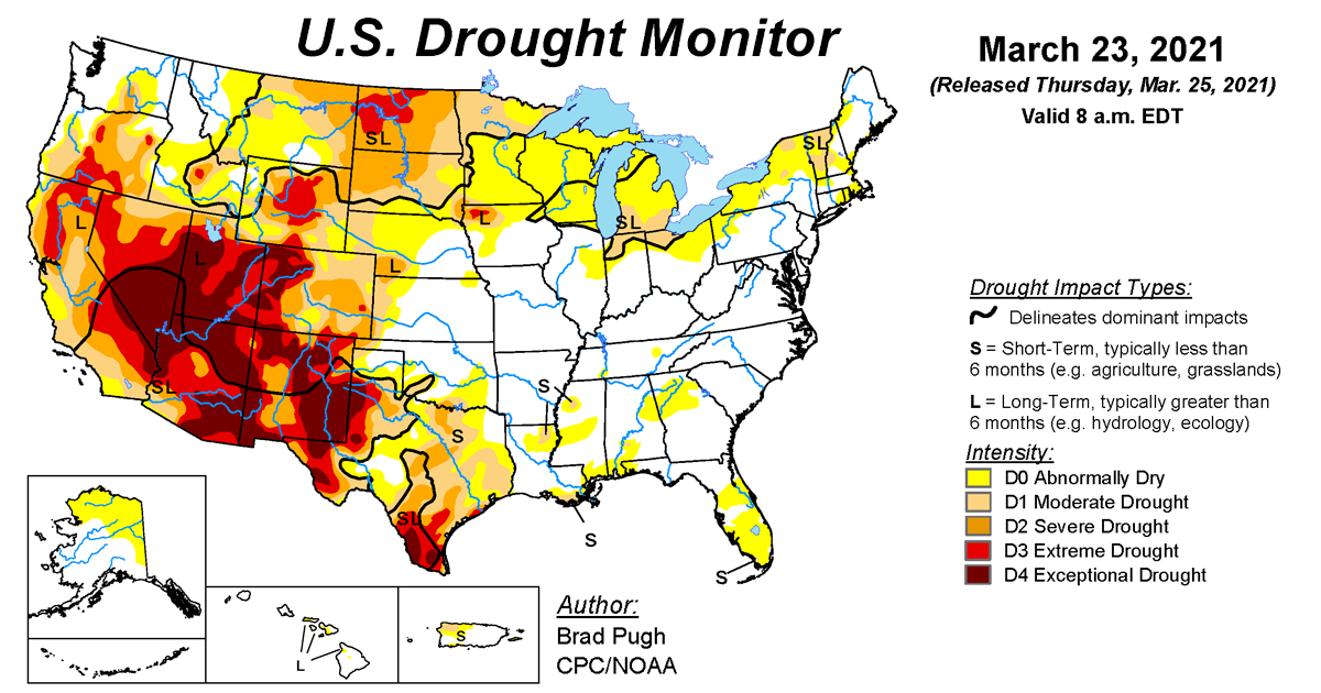 Map of U.S. drought conditions for March 23, 2021
