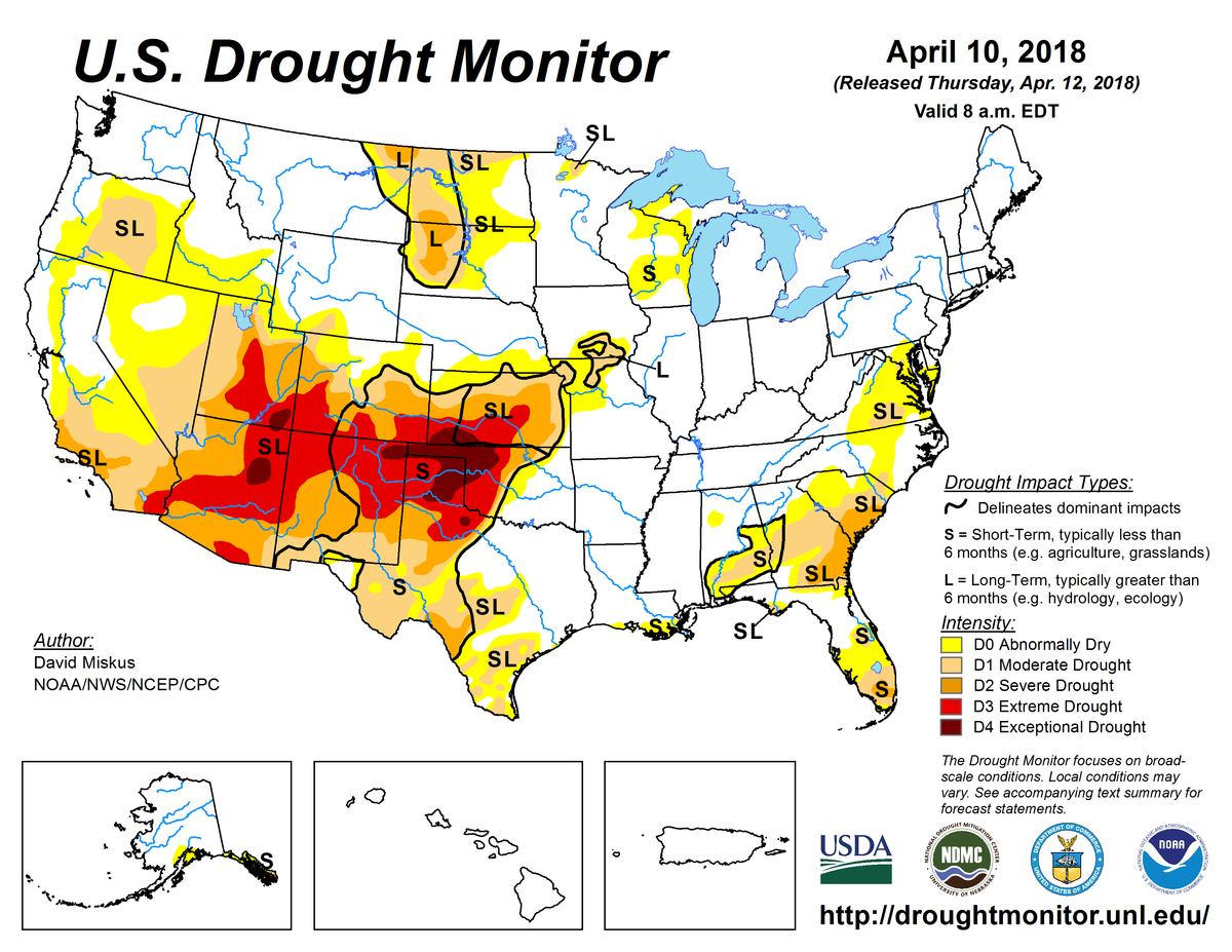 Map of U.S. drought conditions for April 10, 2018