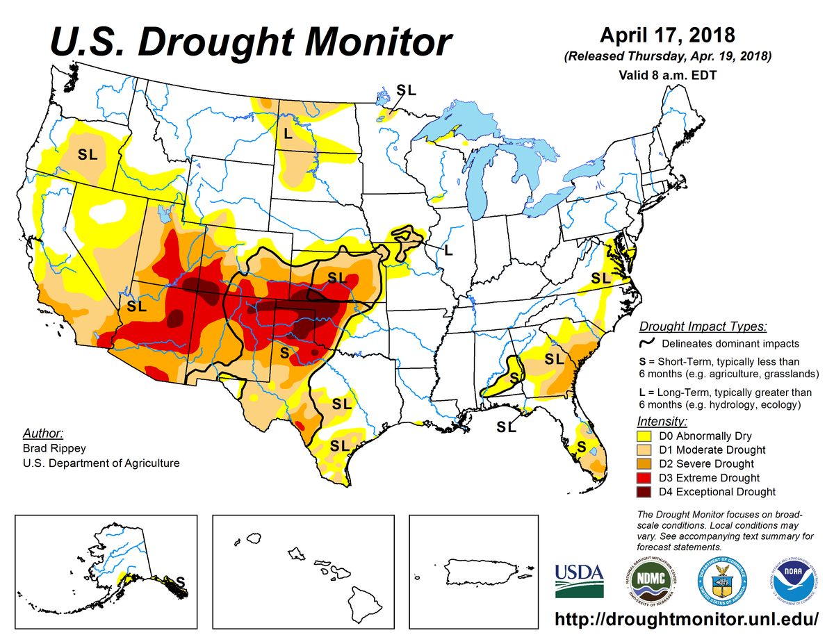 Us Drought Monitor Update For April 17 2018 National Centers - Drought-map-us