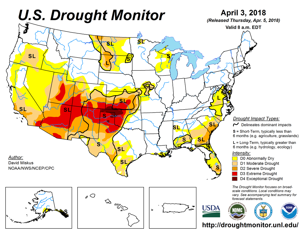Map of U.S. drought conditions for April 3, 2018