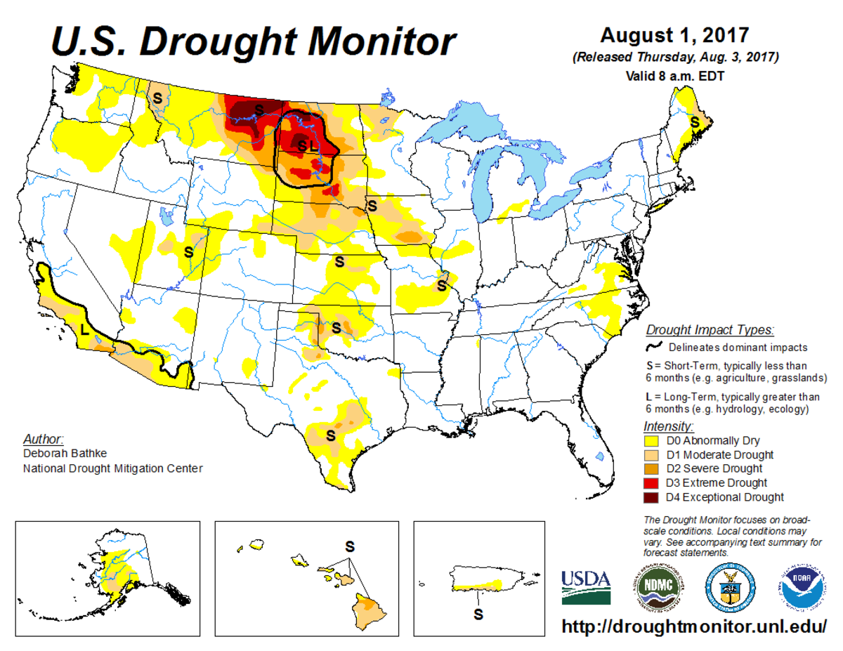 Map of U.S. drought conditions for August 1, 2017