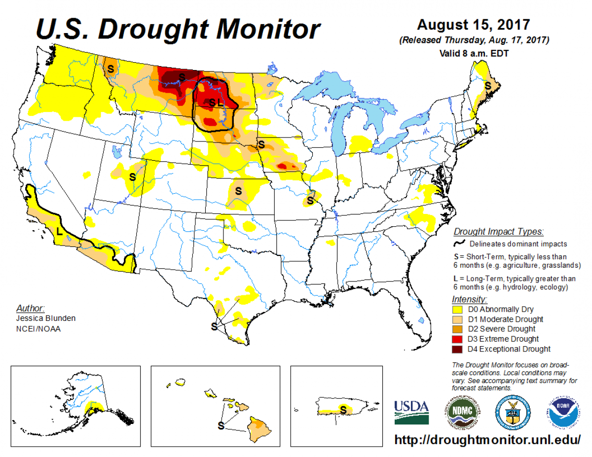 Map of U.S. drought conditions for August 15, 2017