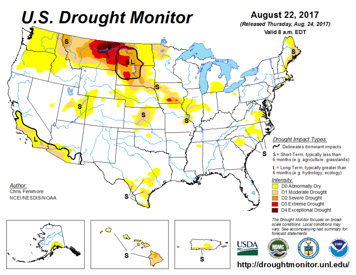 Map of U.S. drought conditions for August 22, 2017