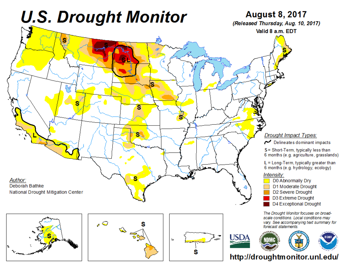 Map of U.S. drought conditions on August 8, 2017