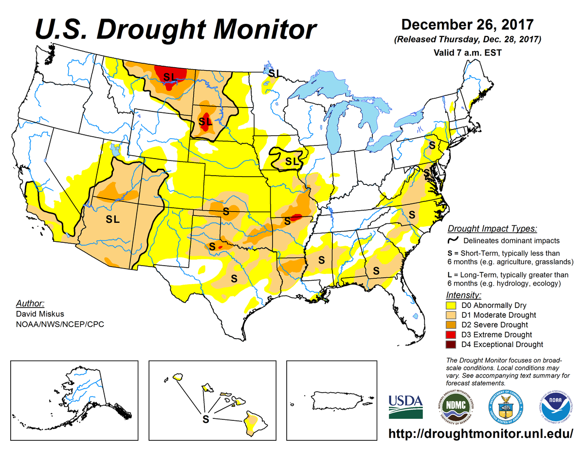 December 26, 2017, US Drought Monitor Map