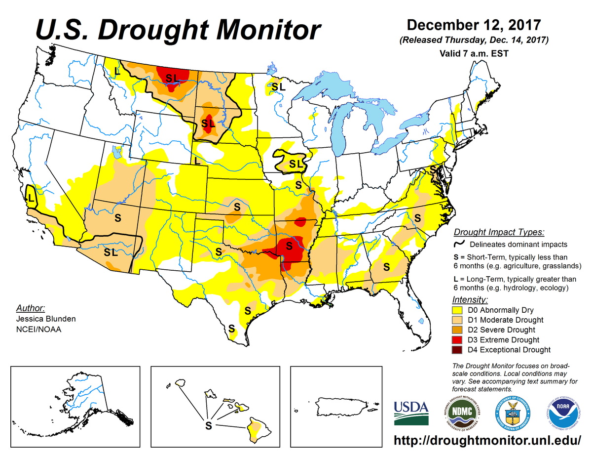 Map of U.S. drought conditions for December 12, 2017