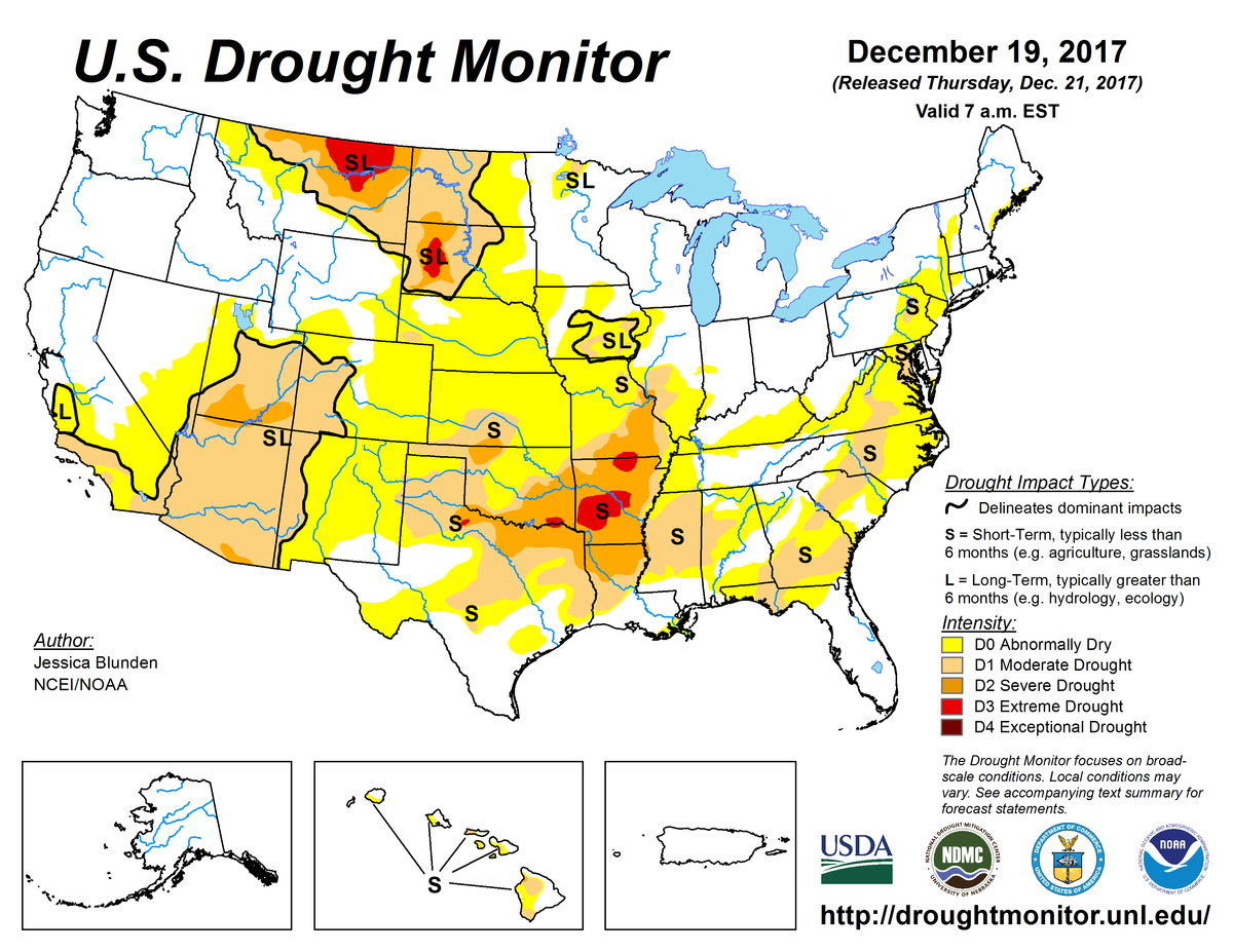 Map of U.S. drought conditions for December 19, 2017