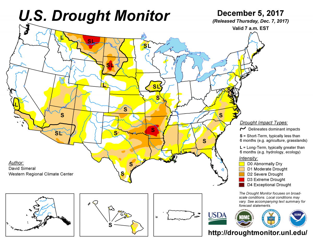 Map of U.S. drought conditions for December 5, 2017