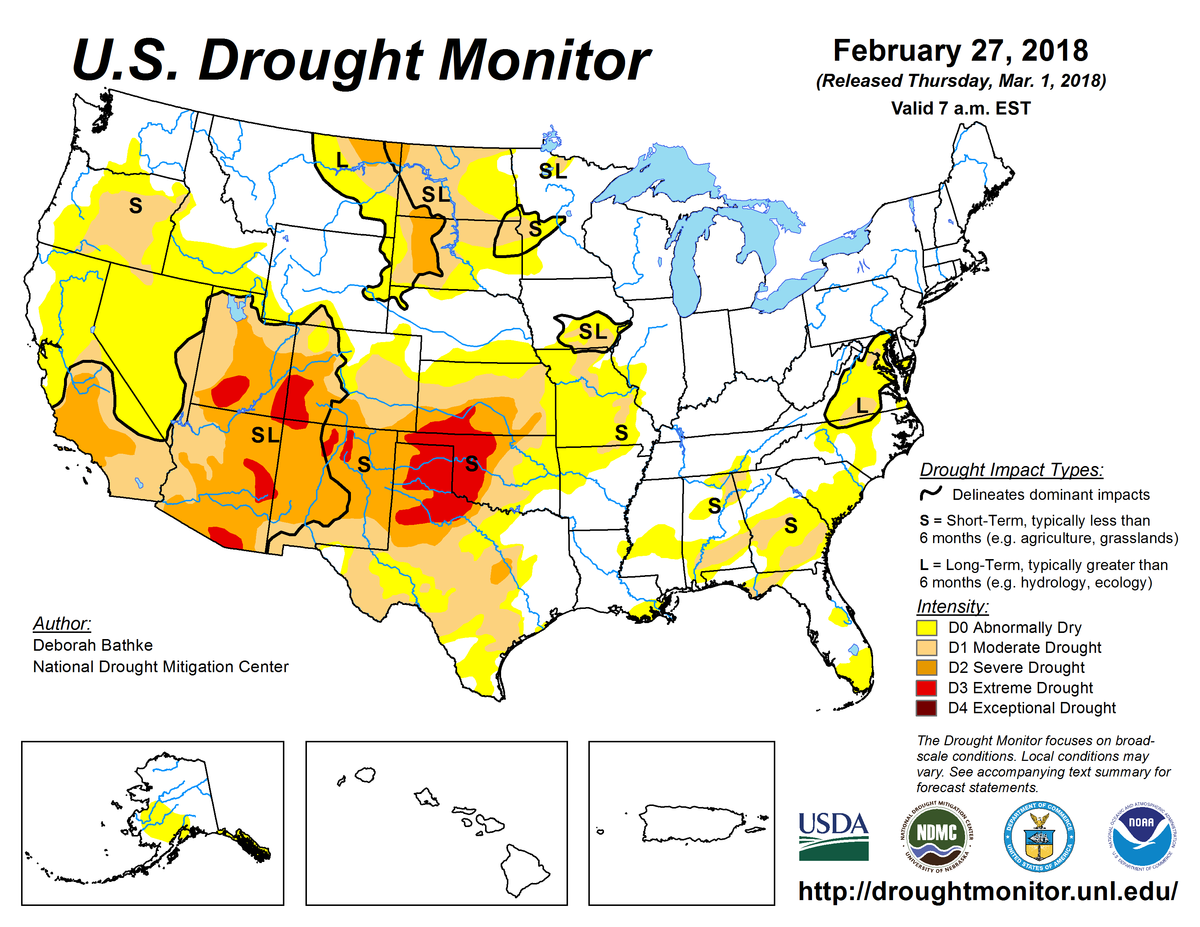 Map of U.S. drought conditions for February 27, 2018