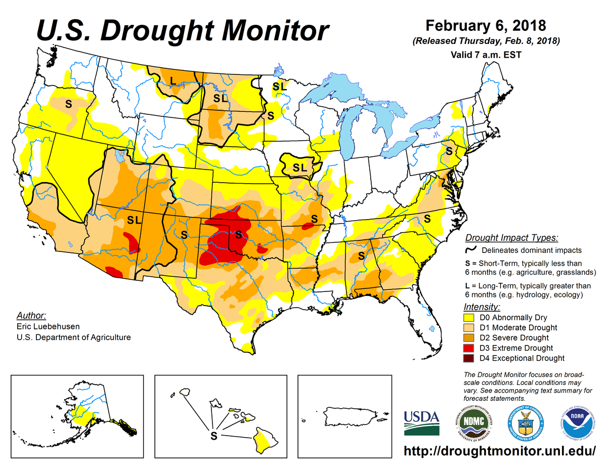 Map of U.S. drought conditions for February 6, 2018