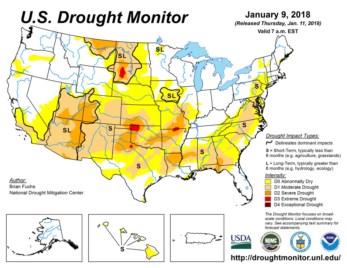 Map of U.S. drought conditions for January 9, 2018.