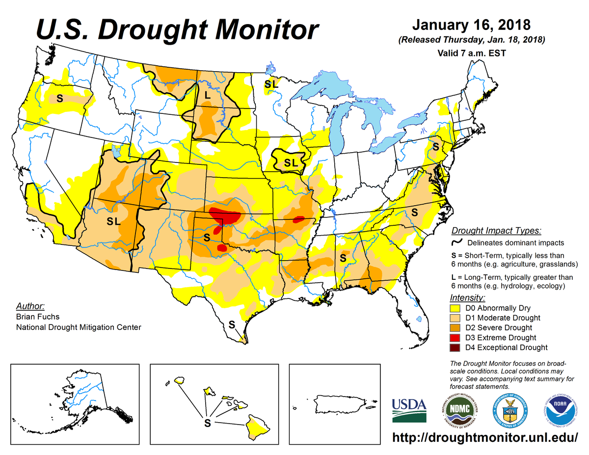 Map of U.S. drought conditions for January 16, 2018
