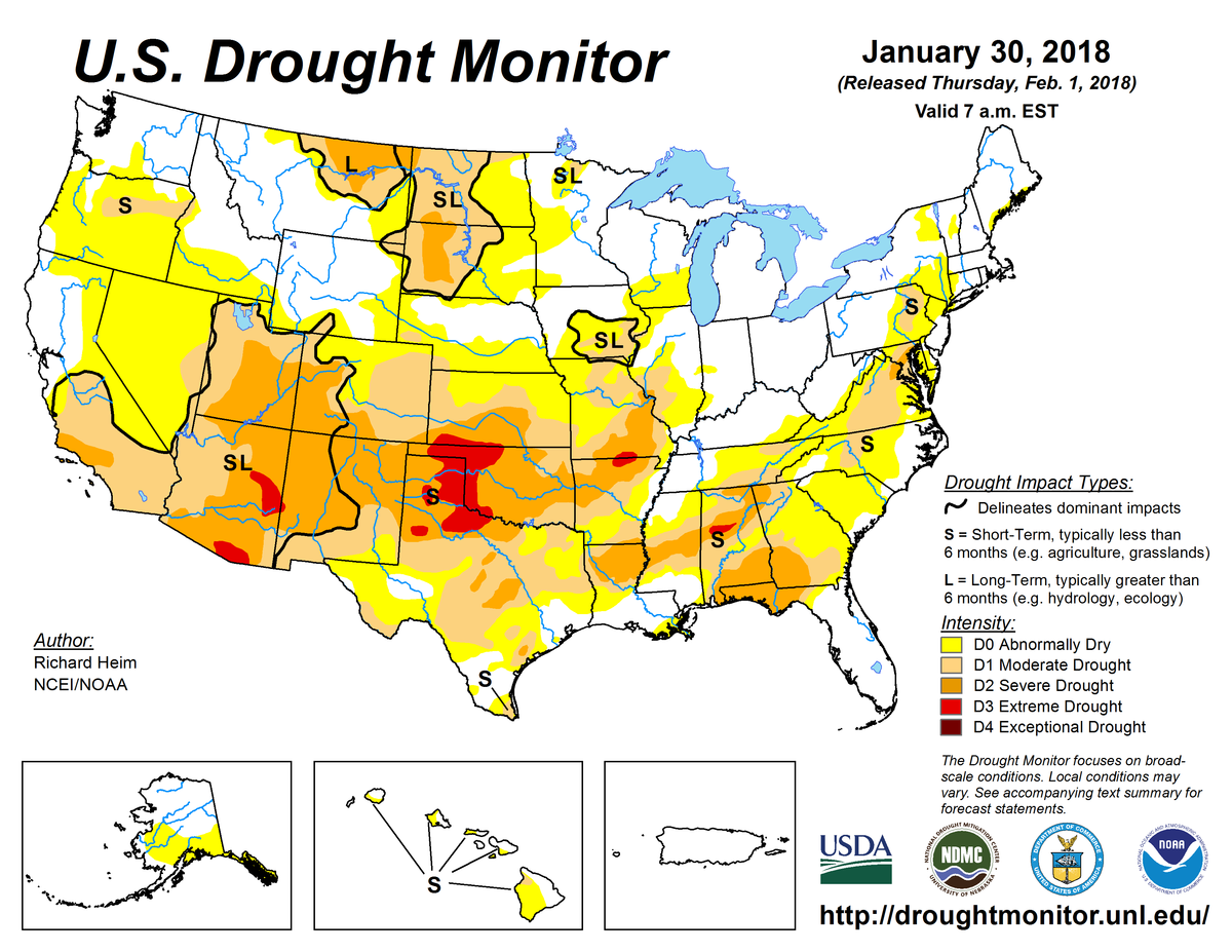 Map of U.S. drought conditions for January 30, 2018