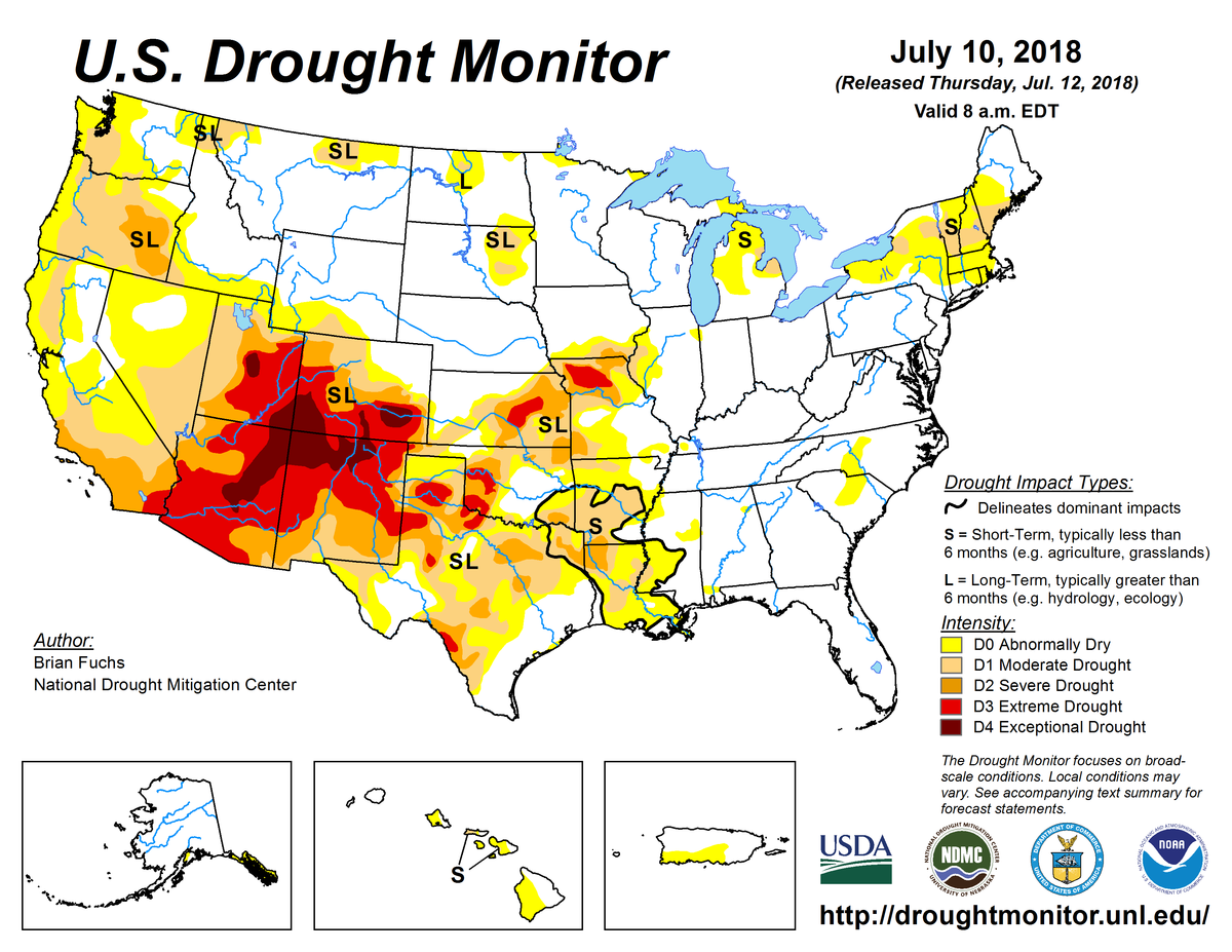 Map of U.S. drought conditions for July 10, 2018