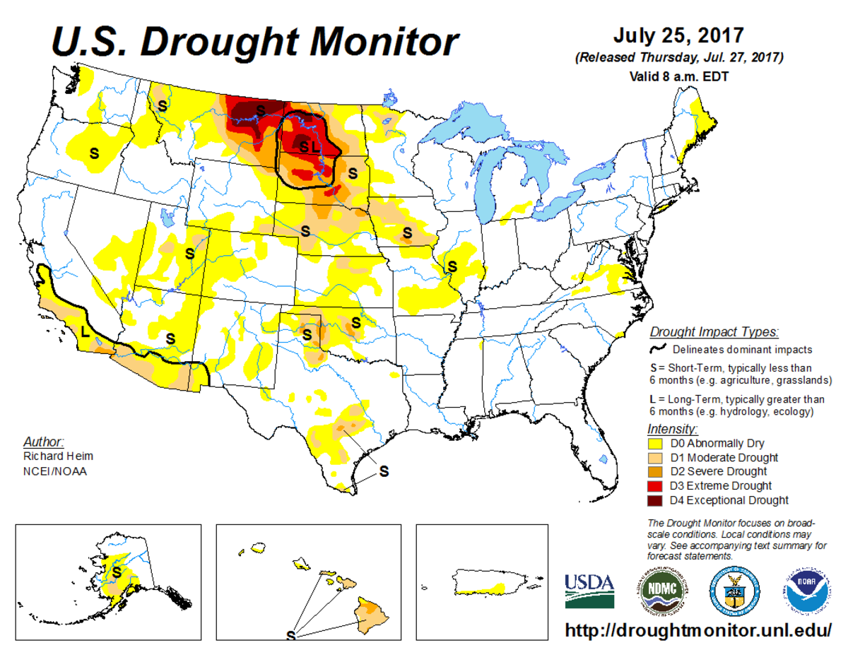 Map of U.S. drought conditions for July 25, 2017