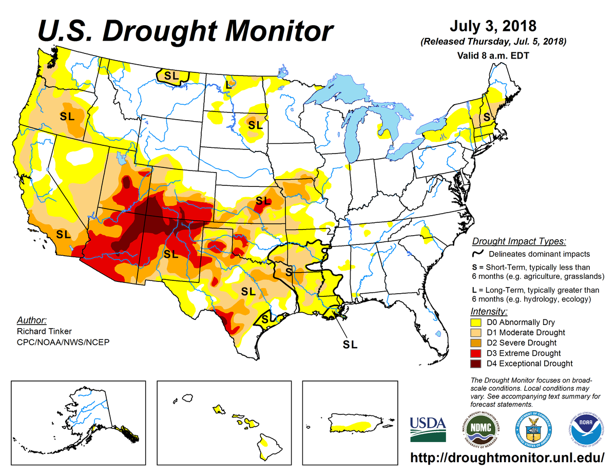 Map of U.S. drought conditions for July 3, 2018