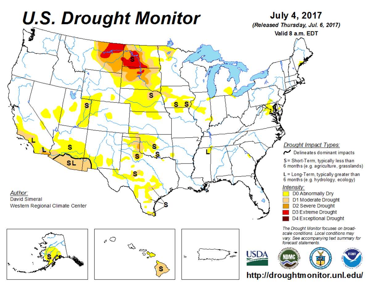 Map of U.S. drought conditions for July 4, 2017