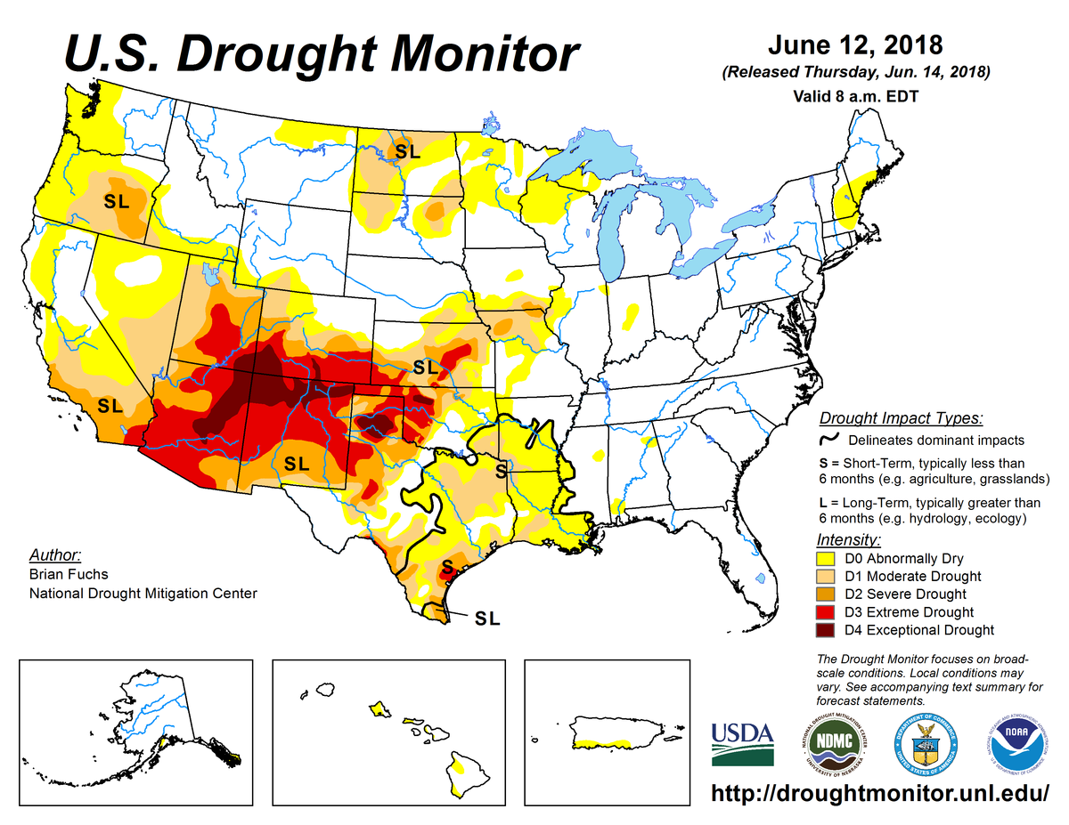Map of U.S. drought conditions for June 12, 2018