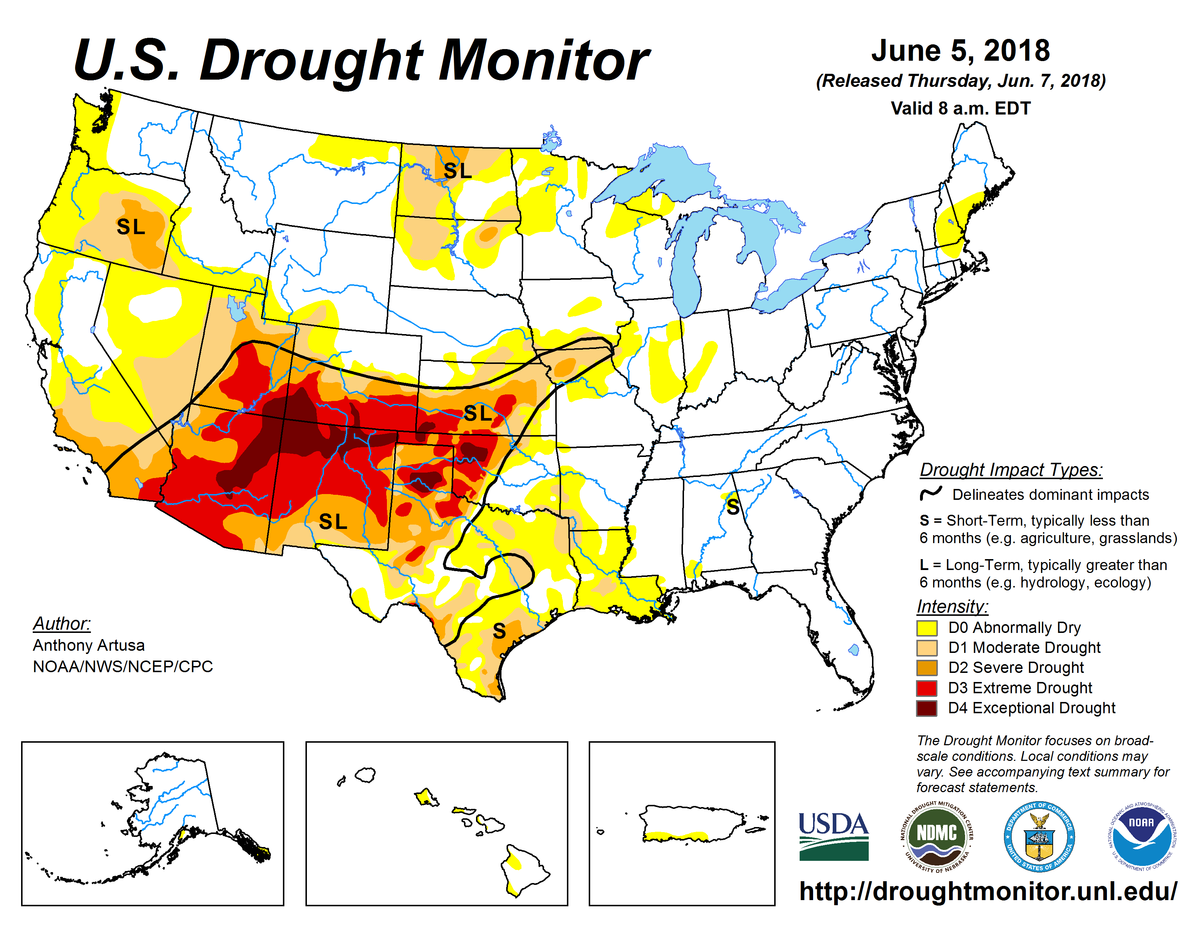 Map of U.S. drought conditions for June 5, 2018