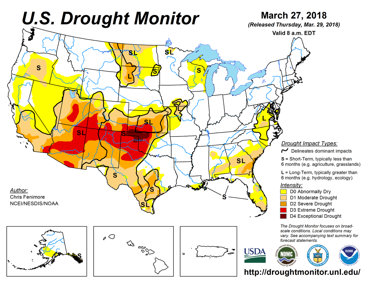 Map of U.S. drought conditions for March 27, 2018