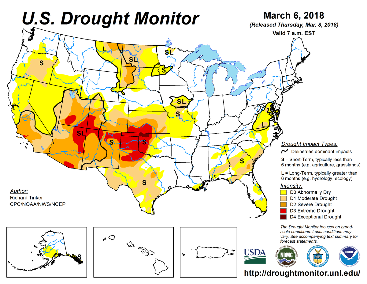Map of U.S. drought conditions for March 6, 2018