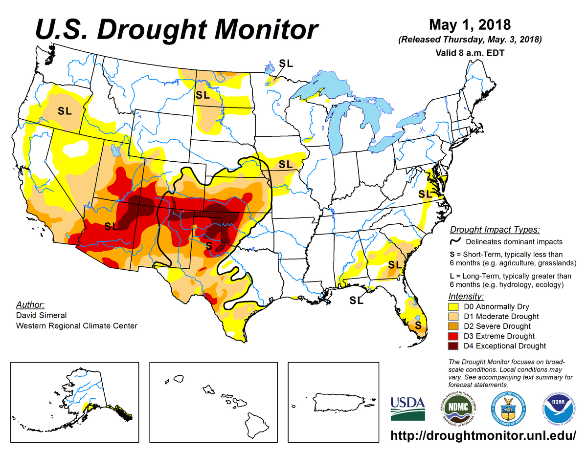 Map of U.S. drought conditions for May 1, 2018