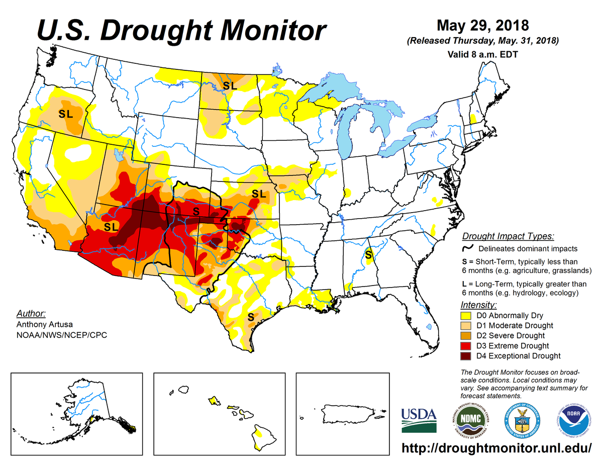 Map of U.S. drought conditions for May 29, 2018